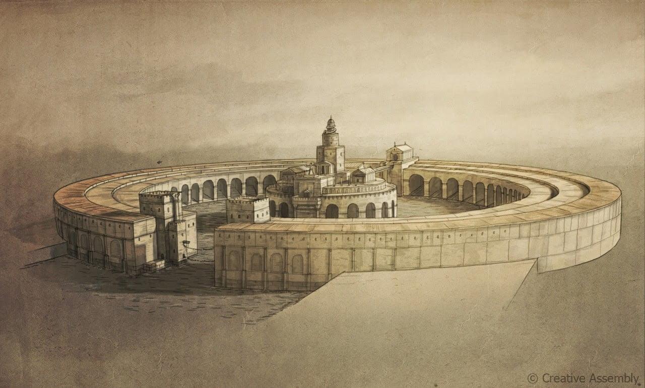 Piękny szkic ukazujący jak wyglądała wojskowa część portu w Kartaginie