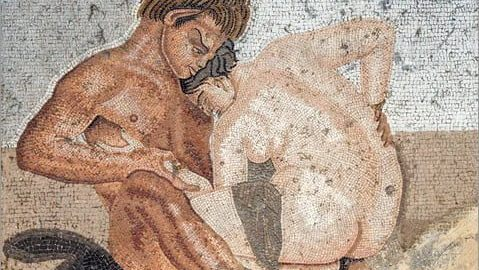 Satyr and nymph during sexual intercourse