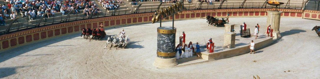 Contemporary reconstructions of the chariot race in the Puy du Fou  amusement park in Les Epesses (France) attract 1.5 million tourists annually