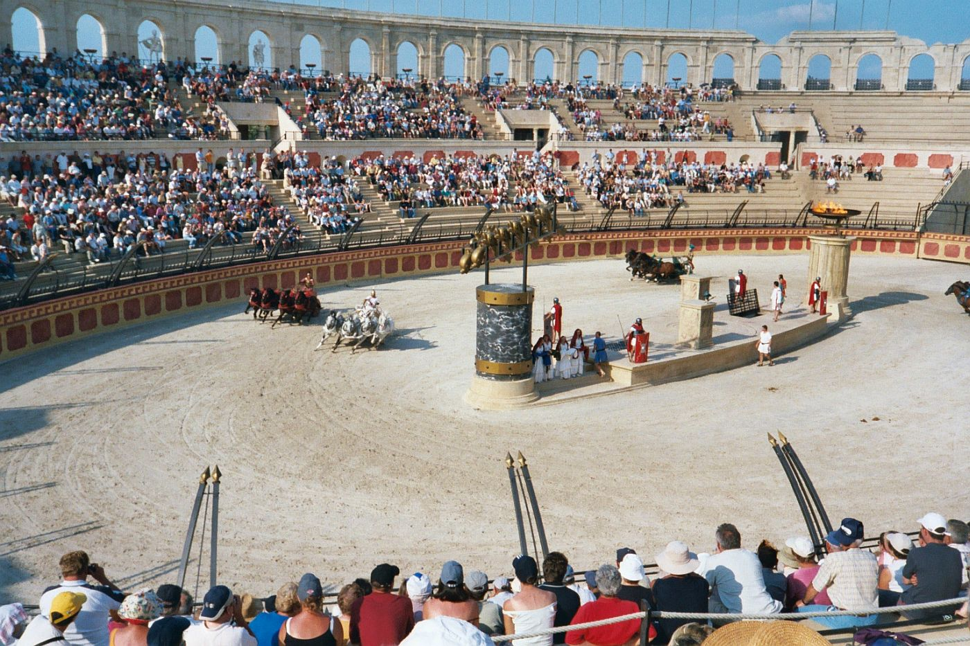 Contemporary reconstructions of the chariot race at the Puy du Fou theme park in Les Epesses (France) attract 1.5 million tourists annually