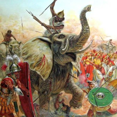 Charge of Hannibal's fighting elephants
