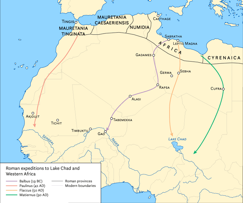 Map showing Roman expeditions deep into Africa