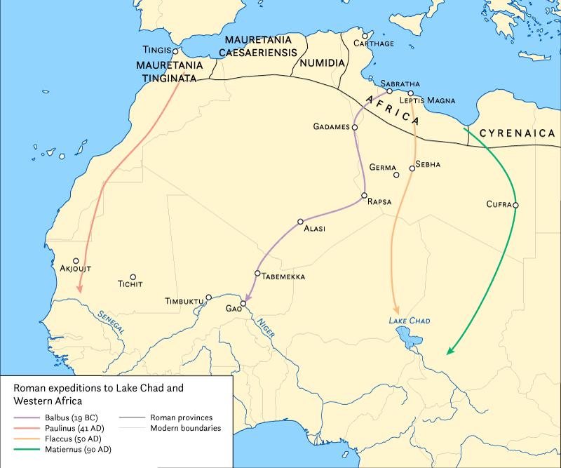 Mapa ukazująca ekspedycje Rzymian w głąb Czarnego Lądu
