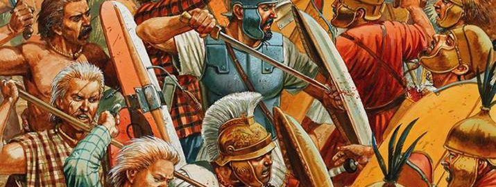 Illustration showing Hannibal fighting in the front line at the Battle of  Cannae