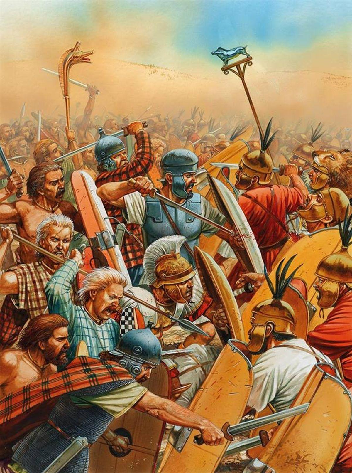 Ilustracja ukazująca Hannibala walczącego w pierwszej linii w bitwie pod Kannami