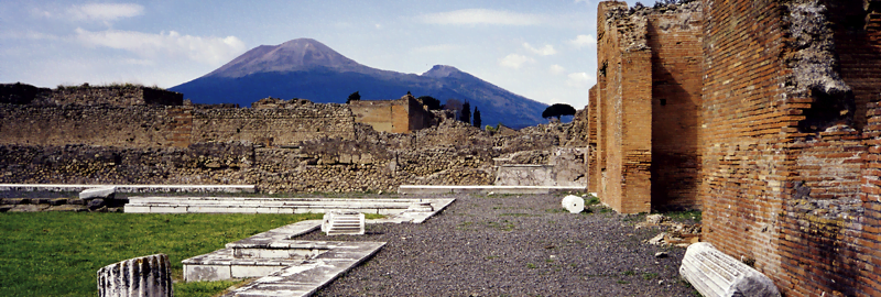 View of the Vesuvius massif from Pompeii