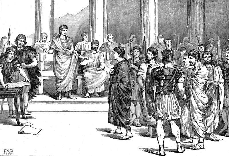 Engraving showing Catiline before Cicero