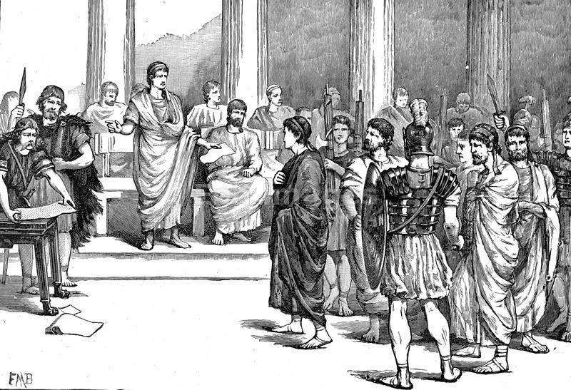 Rycina ukazująca Katylinę przez Cyceronem