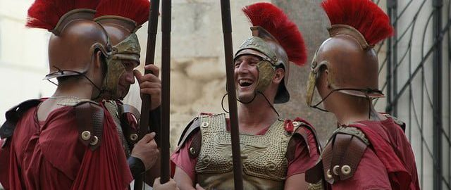 Laughing Roman legonists in Rome