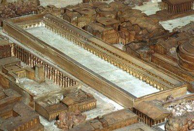 Saepta Julia na planie antycznego Rzymu (w skali 1:400), z początku IV wieku n.e., wykonanym przez francuskiego architekta Paula Bigota