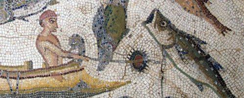 Połów ryb na rzymskiej mozaice