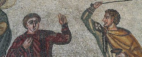 A mosaic showing a master beating a slave