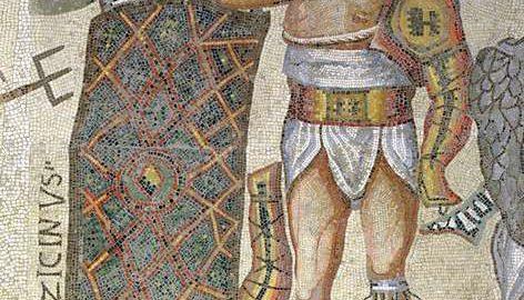 Rzymska mozaika ukazująca zwycięskiego gladiatora. Obiekt datowany na IV wiek n.e.