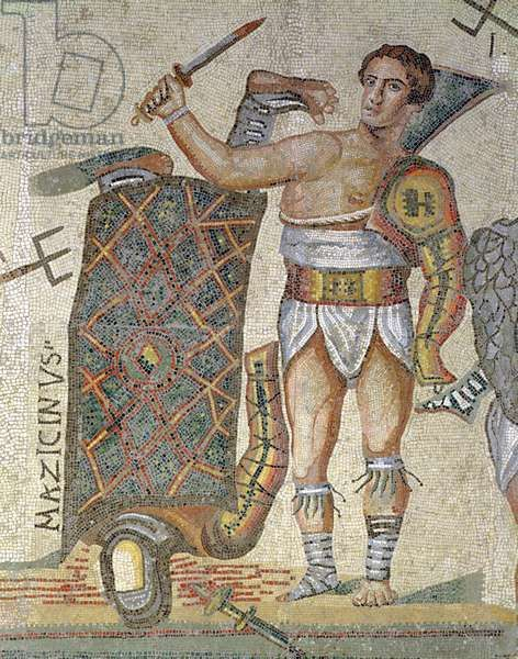 Roman mosaic showing the victorious gladiator. The object dates to the 4th century CE