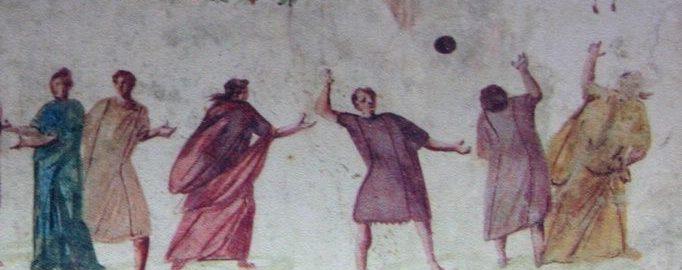 Fresk ukazujący antycznych Rzymian grających w piłkę