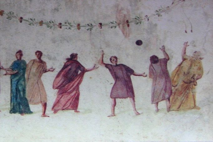 Fresco showing ancient Romans playing football