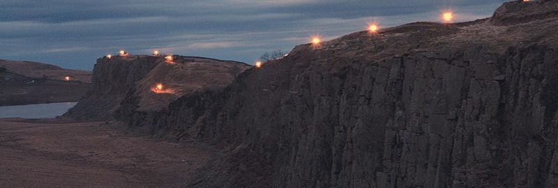 Lit torches on Hadrian's shaft in 2010