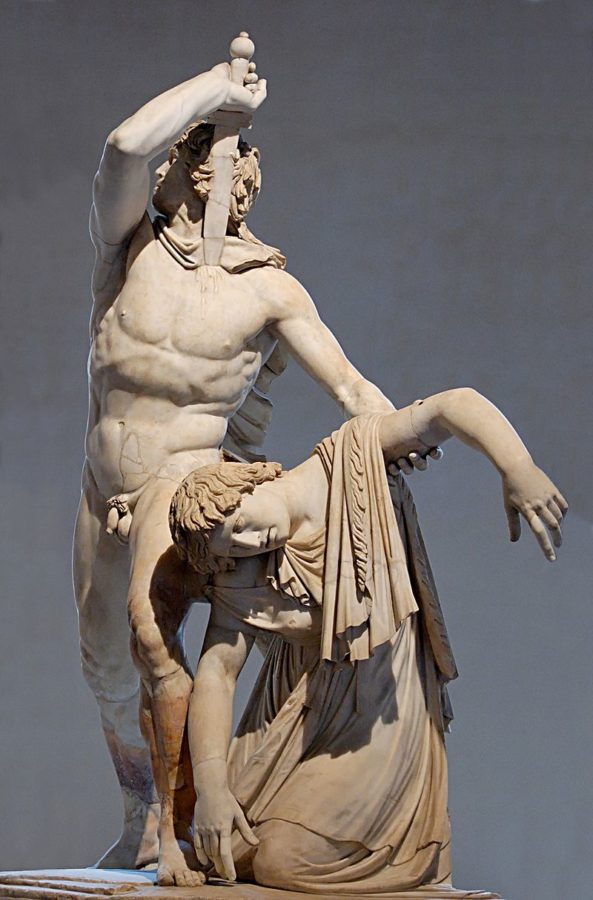 "Roman sculpture from the 1st century CE showing man from Galatia (""Gaul"") killing his wife and himself"