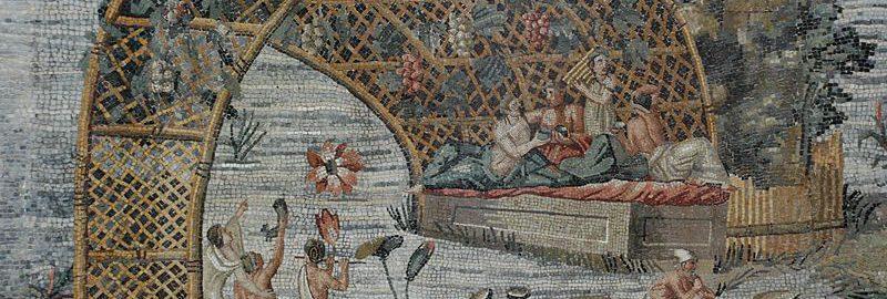Mozaika ukazująca ucztę nad Nilem. Obiekt znajduje się w Narodowym Muzeum Archeologicznym w Palestrina (Włochy)