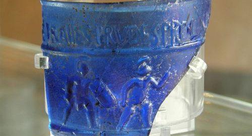 Rzymski kubek z gladiatorami