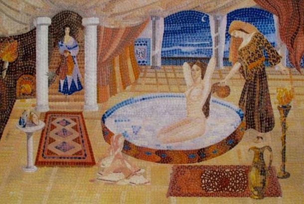 Współczesna mozaika ukazują Kleopatrę biorącą kąpiel w oślim mleku