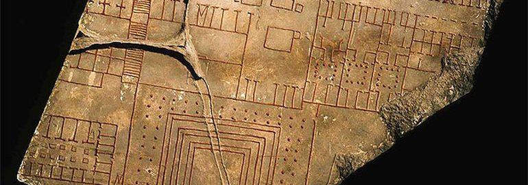 Fragment Forma Urbis Romae - antycznej mapy Rzymu. Widoczna na planie ulica u góry to Vicus Patricius, południowy odcinek ulicy zwanej dzisiaj Via Urbana.