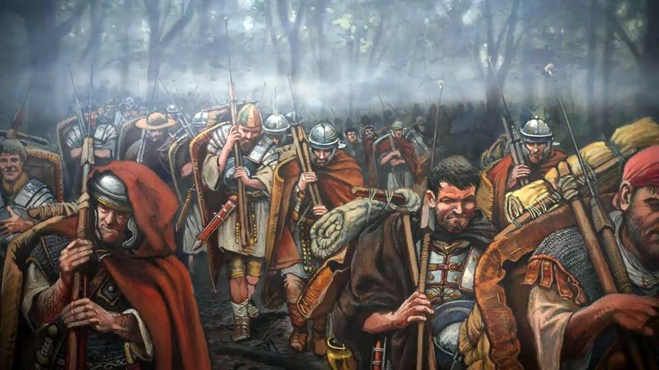 Roman legionaries during the march during the Second Dacian War