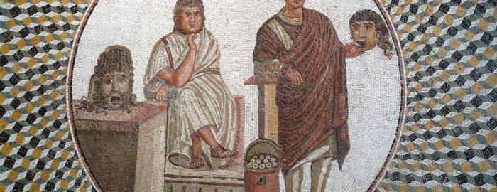 Mozaika rzymska ukazują grę aktorską