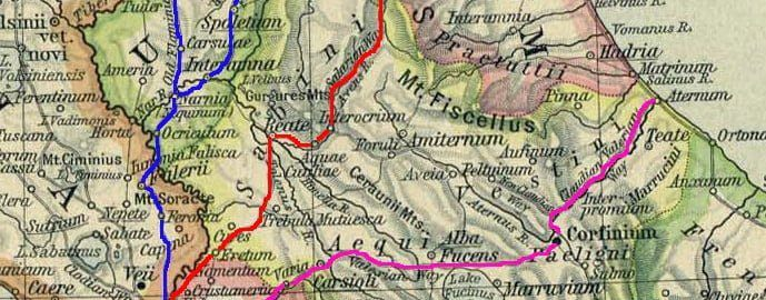 Na czerwono oznaczona Via Salaria.