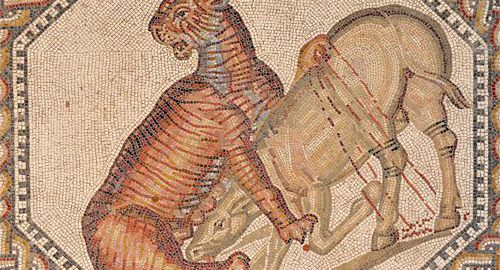 Rzymska mozaika ukazująca tygrysicę i osła