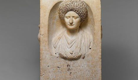 Portrait of a Roman woman on the tomb altar