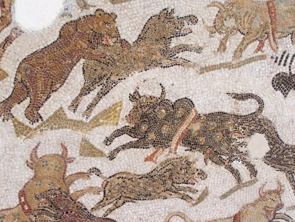 Egzotyczne zwierzęta na rzymskiej mozaice