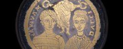 Roman glass bowl showing Roman marriage