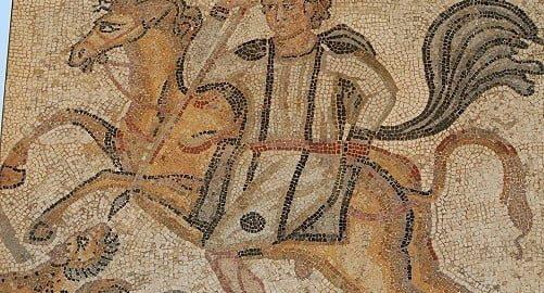 Jeździec na rzymskiej mozaice