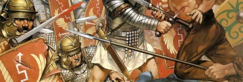 Legioniści w walce podczas wojny Trajana z Dakami (początek II wieku n.e.)