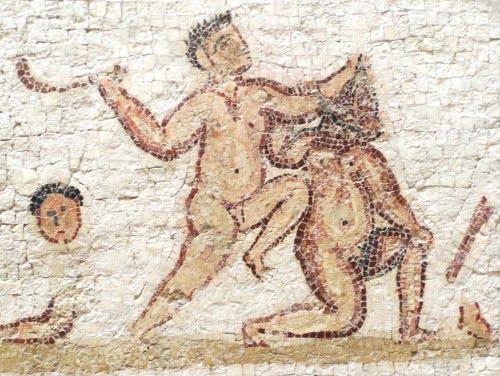 Odcięcie głowy na mozaice