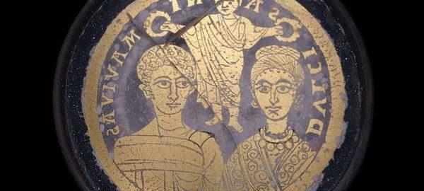 Roman glass bowl depicting a Roman marriage