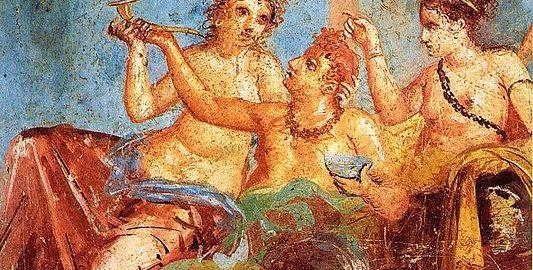 Roman feast in the fresco