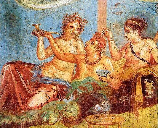 Roman feast on the fresco