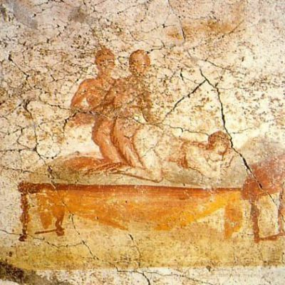 Fresk z podmiejskiej łaźni w Pompejach ukazujący seks w trójkącie