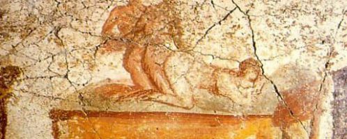 Pompeian fresco showing two men having sex with a woman