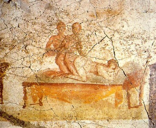 Pompeiian fresco showing sex of two men with a woman