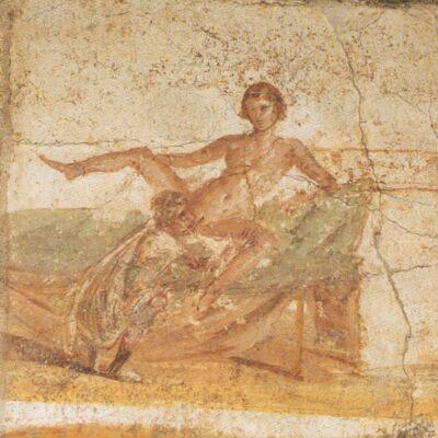 Woman straddling man during sexual intercourse (fresco in Pompeii)