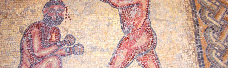 Walka mężczyzn na mozaice