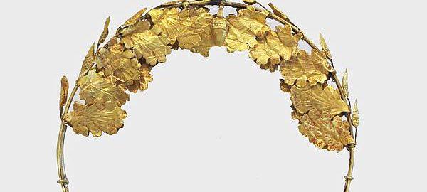 Golden funerary wreath
