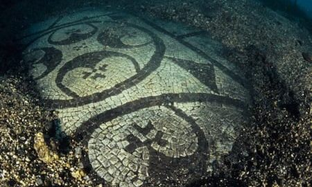 Roman mosaic located under the water in Baiae