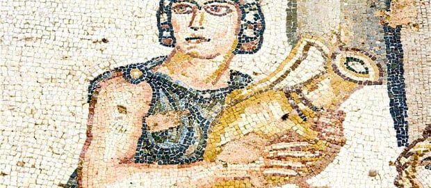 A woman with a jug on the Roman mosaic