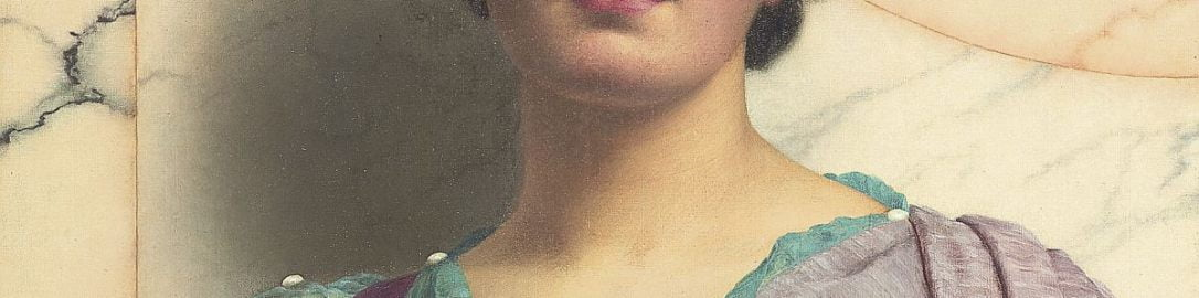 A painting by John William Godward showing a beautiful woman from the  ancient world