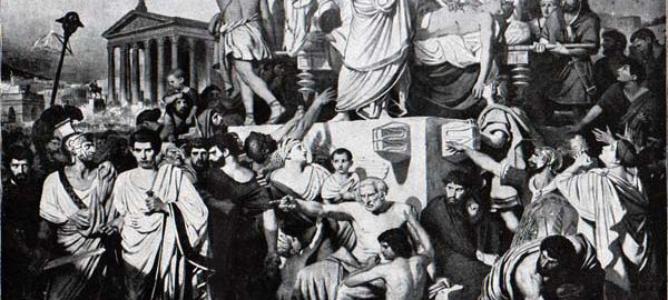 Antony showing a bloody toga