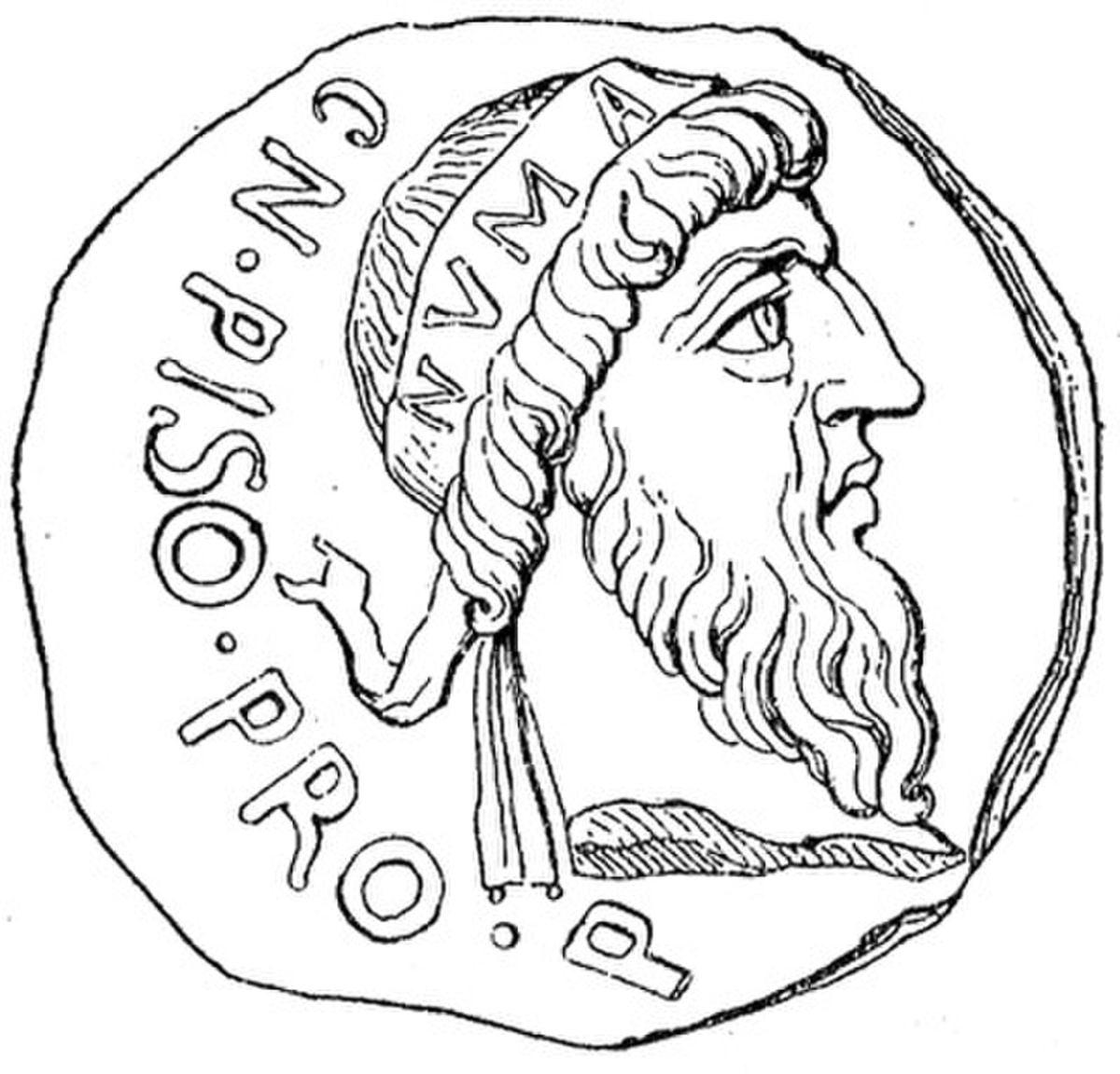 Wyobrażenie Numy Pompiliusza na rzymskiej monecie